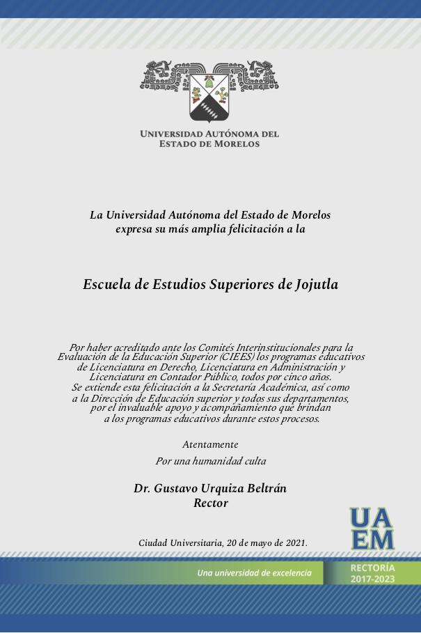Felicitacion EES Jojutla acreditaciones Ciees 200521